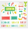 Donate button arrows ans words set White vector image
