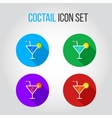 Icon set of fresh coctails with lime and orange vector image