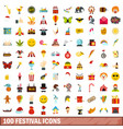 100 festival icons set flat style vector image vector image