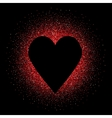 Black heart on the red glittering background vector image vector image