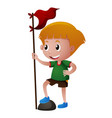 boy holding red flag vector image