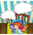 Boy sleeping in bed vector image