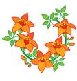 Branch of Orange Red Flower vector image vector image