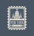 brooklyn bridge on american postage stamp famous vector image