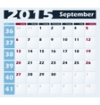 Calendar 2015 September design template vector image vector image