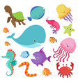 cartoon childrens aquarium and wild sea fishes vector image vector image