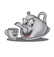 cartoon kettle with a cup vector image vector image