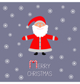 Cartoon Santa Claus and snowflakes Violet vector image