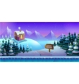 Cartoon winter landscape with ice snow and cloudy vector image vector image