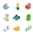 cloth acquisition icons set isometric style vector image vector image