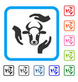 cow care hands framed icon vector image vector image