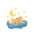cute little boy lying on cloud and sleeping under vector image