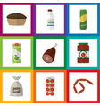 flat icon eating set of bottle sack tomato and vector image vector image