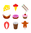 food icon set Isolated on a white background vector image