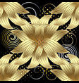 gold 3d flowers seamless pattern modern vector image