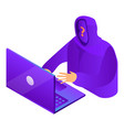 hacker laptop icon isometric style vector image vector image