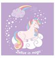 hand drawn cartoon card with cute unicorn vector image vector image
