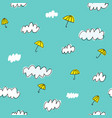 hand drawn clouds and umbrellas seamless pattern vector image vector image