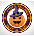happy halloween card with pumpkinand witch hat vector image