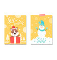 hello winter let it snow on vector image