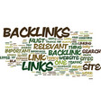 importance relevant backlinks text vector image vector image