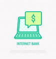 internet bank thin line icon vector image vector image