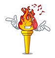 listening music torch mascot cartoon style vector image