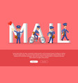 mail conceptual web banner with cartoon postman vector image vector image