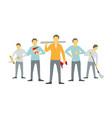 men are carpenters team of workers five handymen vector image