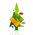 Merry Christmas tree with info paper stickers vector image