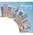 nanjing china skyline with gray buildings blue vector image vector image