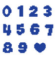 numbers in pixel design vector image vector image