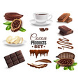 realistic cocoa products set vector image