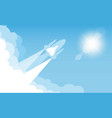 rocket on sky blue color design illumination vector image vector image