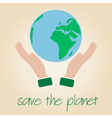 save the planet Earth symbol globe and human hands vector image