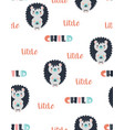 seamless pattern with cute hedgehog vector image vector image