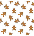 seamless pattern with gingerbread man vector image vector image