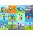 set icon with postman characters and mail boxes vector image