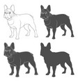 set of black and white images of a french bulldog vector image