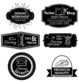set of sewing linear retro badges labels logo vector image