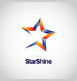 shiny blue orange star logo symbol vector image vector image