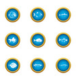 small fry icons set flat style vector image vector image