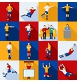 Soccer Players Icons Flat Set vector image