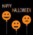three pumpkin balloon set smiling sad face head vector image vector image