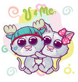 two cute cartoon kittens boy and girl vector image vector image