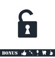 Unlock icon icon flat vector image vector image