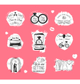 Wedding Invitations badges And Icons - Set vector image vector image