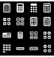 white calculator icon set vector image