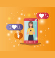 woman in smartphone with social media bubbles vector image vector image