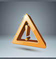 yellow 3d icon attention danger vector image